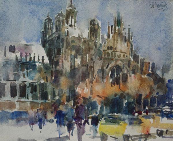 Rob-Houdijk-Den-Bosch-St.-Jan-in-de-sneeuw-aquarel-44-x-53-cm