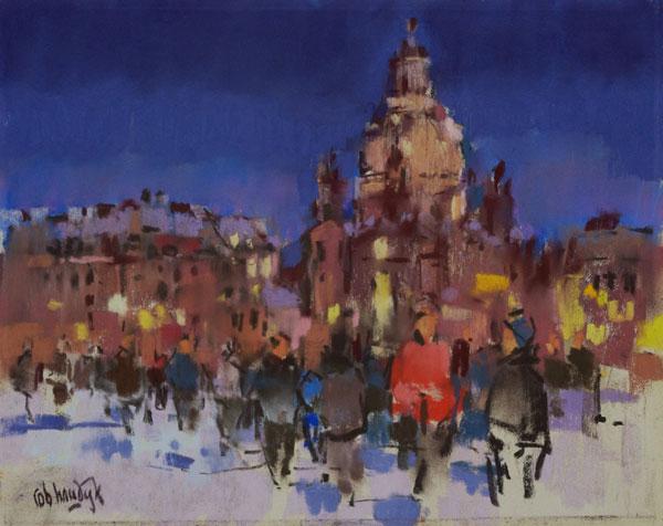 Rob-Houdijk-Dresden-in-de-sneeuw-II-pastel-30-x-40-cm