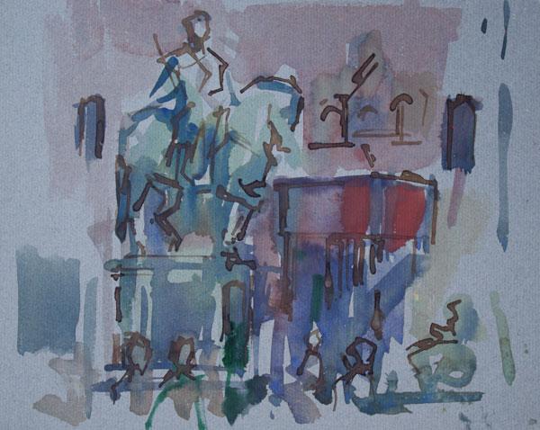 Rob-Houdijk-Florence-Piazza-della-Signoria-gemengde-techniek-22-x-26-cm