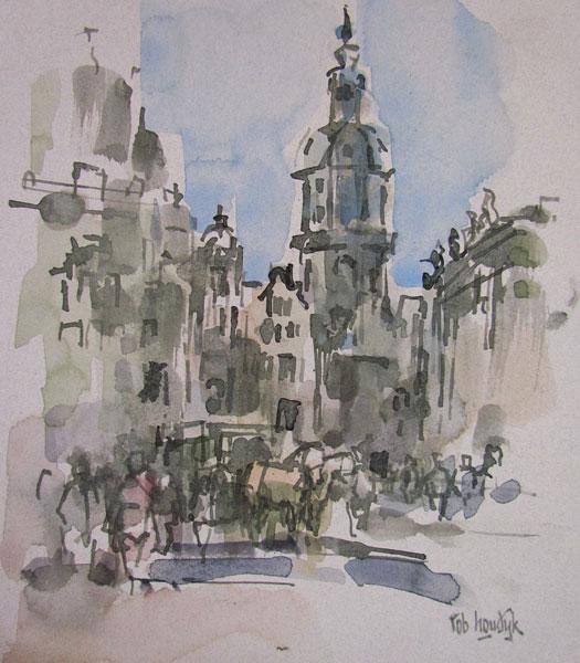 Rob-Houdijk-Gezicht-op-de-Residenz-gemengde-techniek-27-x-22-cm
