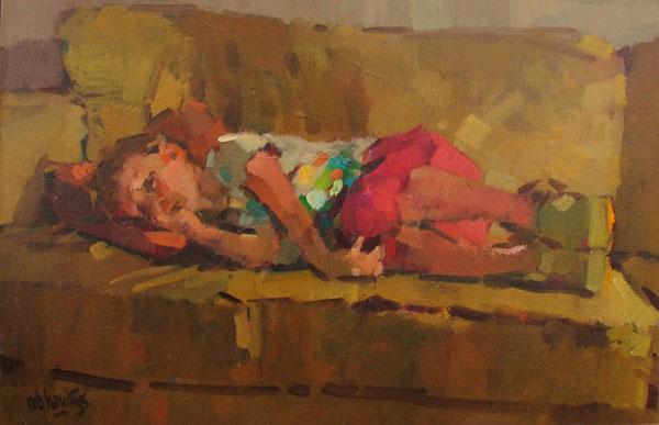 Rob-Houdijk-Isabella-op-sofa-olieverf-35-x-50-cm