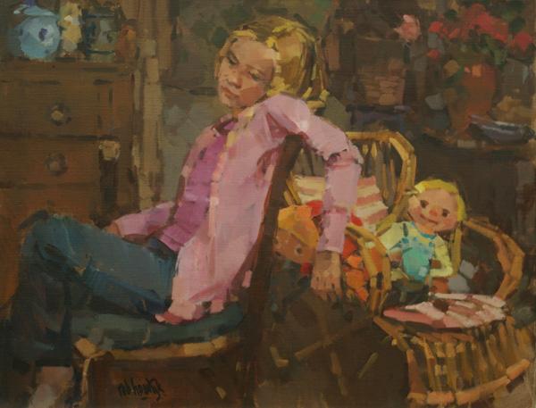 Rob-Houdijk-Kim-soezend-in-het-atelier-olieverf-75-x-90-cm
