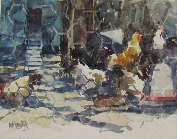 Rob-Houdijk-Kippenhok-III-aquarel-55-x-71-cm