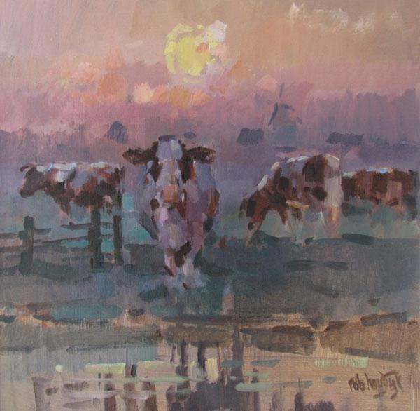 Rob-Houdijk-Koeien-aan-de-slootkant,-olieverf-40-x-40-cm