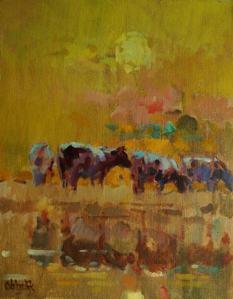 Rob-Houdijk-Koeien-bij-opgaande-zon-olieverf-50-x-40-cm