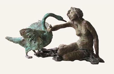 Rob-Houdijk-Leda-en-de-zwaan-brons-H-33-cm