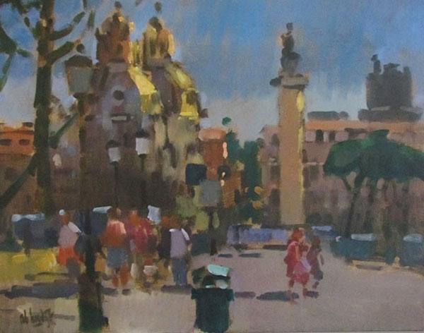 Rob-Houdijk-Rome-Forum-van-Trajanus-olieverf-40-x-50-cm