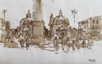 Rob-Houdijk-Rome,-Piazza-del-Popolo-sepia-33-x-44-cm.jpg