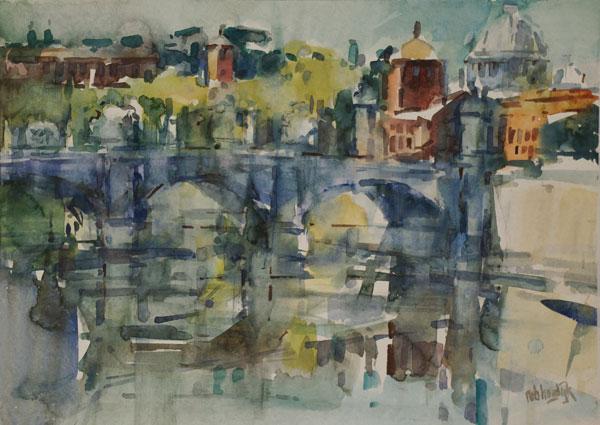 Rob-Houdijk-Rome-gezicht-op-de-Tiber-aquarel-53-x-67-cm