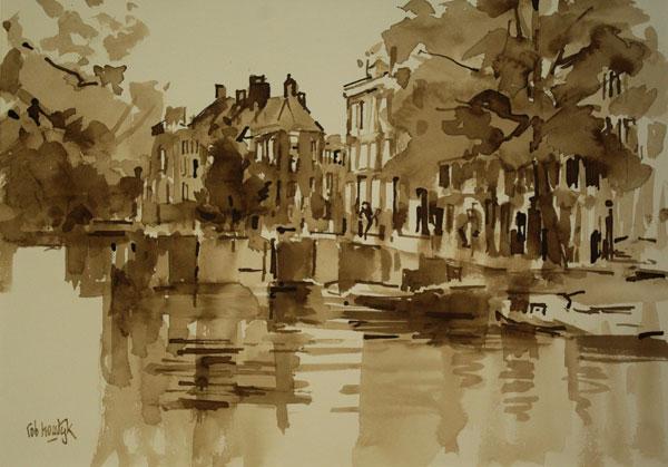 Rob-Houdijk-Stille-gracht-in-Amsterdam-I-sepia-35-x-47-cm