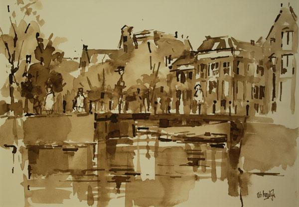 Rob-Houdijk-Stille-gracht-in-Amsterdam-II-sepia-35-x-47-cm