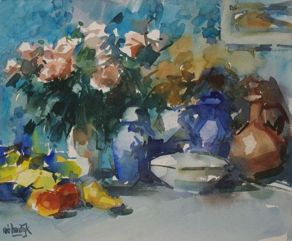 Rob-Houdijk-Stilleven-met-rose-rozen-aquarel-53-x-64-cm