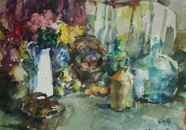Rob-Houdijk-Stilleven-met-witte-kan-aquarel-72-x-100-cm