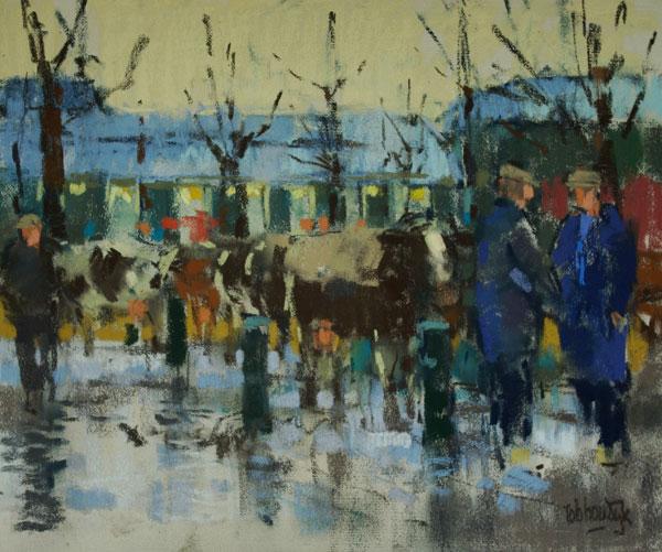 Rob-Houdijk-Veemarkt-Purmerend-smeltende-sneeuw-pastel-35-x-40-cm